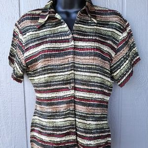 Casual Corner Striped Crinkled Top Size Small